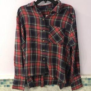 Topshop Thin Plaid Flannel Shirt